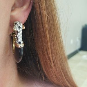 Black clip on sparkly earrings